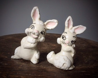 Vintage Set 2 Porcelain White Rabbits Alice in Wonderland Style Ceramic Easter Bunny Baby Gift Figurine Hand Painted Flirting Bunnies Lovers