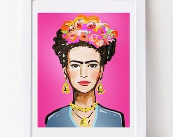 Frida Kahlo Print, roses, 8 x 10, 12x15, 16x20