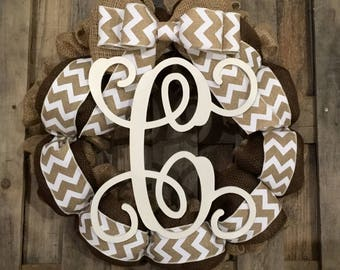 Monogram Burlap Wreath Brown Espresso White Chevron Bow Vine Wood Letter Front Door Personalized Wedding Gift You Choose letter