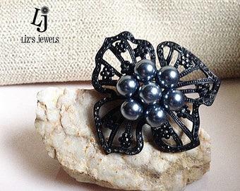 Vintage Black Marquisette Flower Brooch, Black Flower, black marquisette, flower pin, black flower pin,