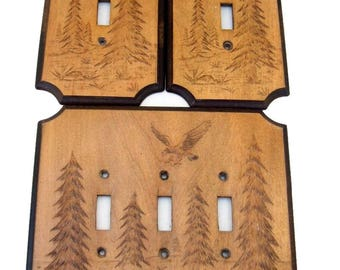 EAGLE & PINES Light Switchplate Covers Embossed Wood by JMCo Hunting Log Cabin 1977