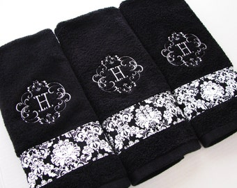 Personalized Towels, hand towel, bathroom, personalized gift, embroidered  towels, black white, damask, monogrammed towels, august ave, bath