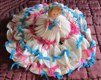 RARE vintage Dairy milk filters novelty item; doll dress and hat made from vintage Surge milk filters; Storybook Doll; 1940-1950