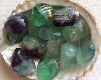 Fluorite Healing Stone, Protective,Grounding,Stabilizing, Spiritual Stone, Meditation, Tumbled Stone, Chakra Stone