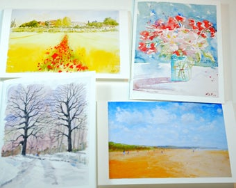 Set of four assorted greeting cards tuscany flower tree normandy  watercolour oil  anniversary birthday wedding cards valentine's day