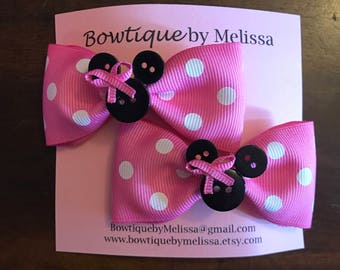 Minnie Mouse Hair Clips - Pink