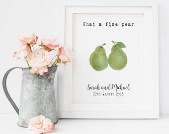 Wedding gift print - personalised wedding gift - pear print - wedding quote print - wedding day - unusual wedding gift