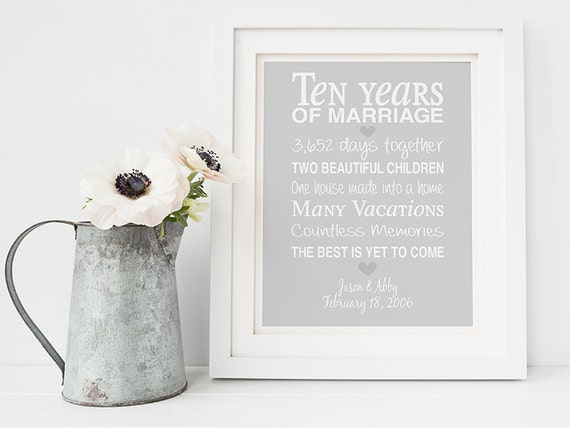 Unusual 10th Wedding Anniversary Gifts : 10th anniversary giftpersonalised anniversary print- anniversary ...