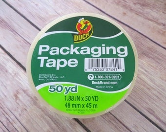 "1 Roll DUCK Packaging Tape 1.88""x 50 yds. Packing Tape, Shipping Tape, Unopened Duck Tape, CLEAR or TAN"