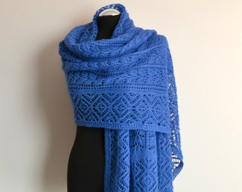 Blue hand knitted lace shawl alpaca scarf rectangular wrap handmade