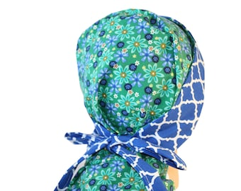 Surgical Scrub Hat - Scrub Cap -  Tie Back - Front Fold Ponytail Scrub Hat Blue Green Floral 2nd Item Ships FREE