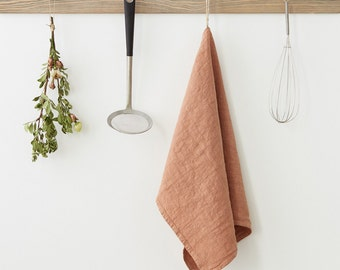 Café Crème Stone Washed Linen Tea Towel