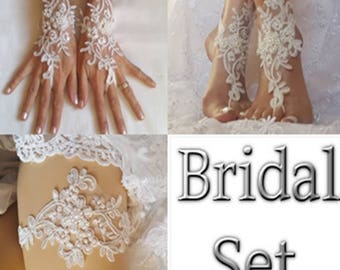 Bridal set ivory free ship garter bridal gloves beach wedding barefoot sandal lace shoe best 2017 wedding