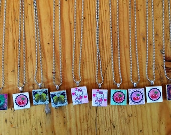 """Bulk premade Scrabble Tile Necklaces - Bulk, 385 Necklaces """"buy cheap and sell for more"""""""