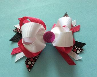 Easter Summertime Glitter Dot Layered Boutique Hair Bow