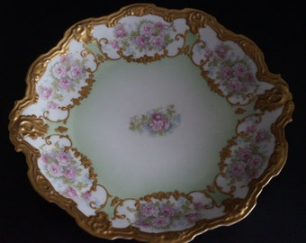 Vintage, France Limoges Hand Painted Rose and Gold Plate