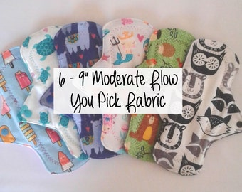 "Cozy Cloth Set of 6 - 9"" Moderate Flow Cloth Menstrual Pads - You Pick Fabric"