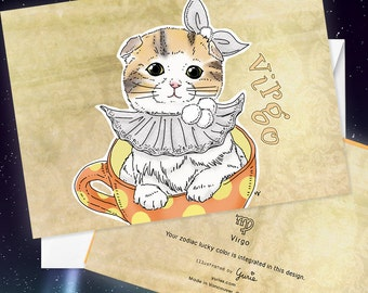 Virgo Cat zodiac sign + lucky color cards Greeting Card (5x7 size) Cat astrology, Munchkin cat, scottish fold