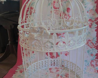 Vintage white wire birdcage with opening on top no side opening used