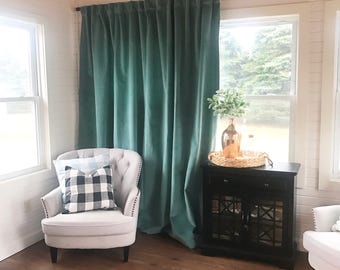 Luxury Velvet Curtains, Emerald Green Velvet, Window Treatments-Drape-Velvet Window Treatments-Curtains, Cafe Curtains,