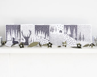 Christmas cards - pack of 6 cards - A6 xmas cards - hand printed in grey and white - Nordic style cards with kraft paper envelopes