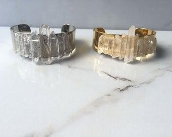 Lemurian Clear Quartz Cuff - Crystal Jewelry - Healing Stone Jewelry - Music Festival Jewelry