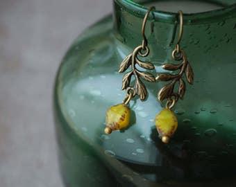 Faun . Czech bead earrings mustard yellow