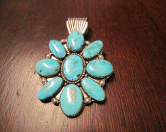 Charlie John, Navajo, Sterling Pendant with Morenci Turquoise
