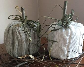 Two Sweater Pumpkins//Farmhouse Decor//Rustic Home Decor//Fall Decor//Bathroom Decor //READY TO SHIP//Fabric Pumpkins