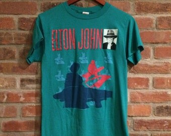 Vintage Elton John Reg Strikes Back Tour Shirt Made in USA CHED by Anvil 1988 Large