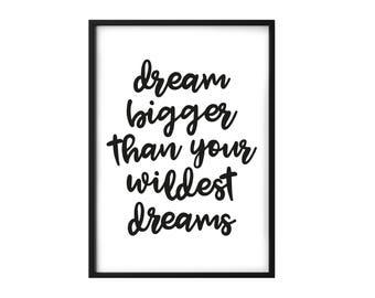 Dream Big Typography print - Positive Print - Children's Print - Nursery Decor - Motivational Quote Print - Happy Print - Nursery Poster
