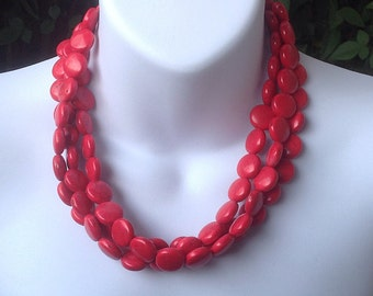 Multi strand red turquoise necklace. Red turquoise necklace. Triple strand turquoise necklace. Chunky turquoise necklace.