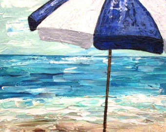 Blue and White beach umbrella, original seascape painting, Summer vacation at the ocean, wall art, home decor, gift
