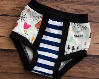 Children's high panties, unique pattern, colorful and navy striped doodle, comfortable underwear for toddler