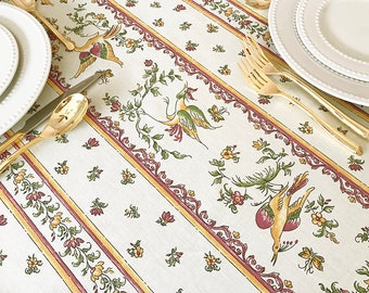 """72 to 130"""" Rectangle or Oval Moustiers Birds Raspberry Red Tablecloth - or custom made your size up to 115"""" wide - Umbrella Hole available-"""