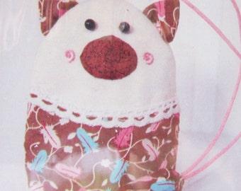 DIY Pig Key Holder, Plush Toy, Craft kit, sew for kid, sew kit, sewing pattern, Pink Brown Pig, Shine Kids Crafts