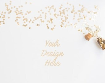Styled Stock Photography | Top Gold Heart Shaped Glitter Confetti | Styled Desk with Glitter Confetti | Digital Image
