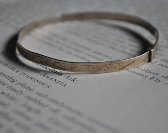 Antique Sterling Bangle - 1900s Edwardian Silver Bracelet