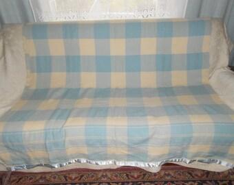 Blue/Cream Check Large Wool Blanket