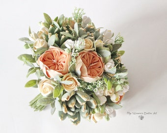 Alternative Wedding bouquet  Keepsake Succulent bouquet Peach Gold Bridal bouquet Golden bouque Golden succulents bouquet Blush bouquet