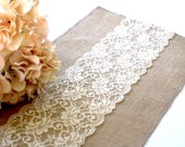 Burlap table runner/ Vintage Wedding table runner with country cream lace/ Rustic table decor , handmade in the USA