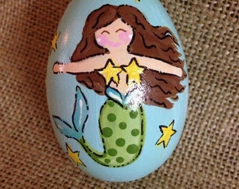 "3.25"" Mermaid egg, Easter egg, personalized wooden egg,"