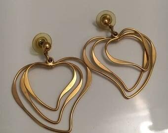 Vintage Gold Heart Hoop Earrings