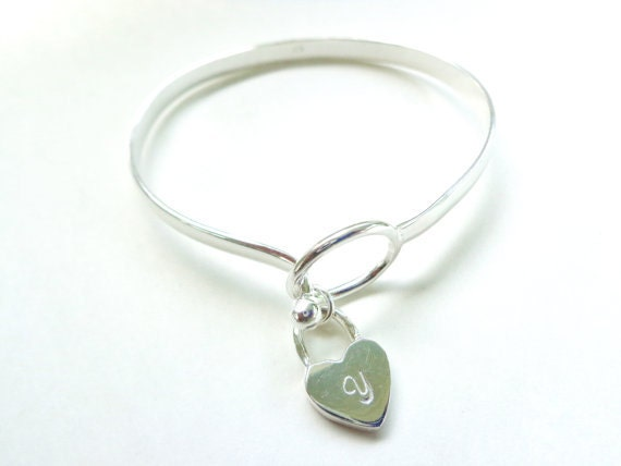 Personalized Heart Bangle Bracelet - Sterling Silver- Inital Monogram - Your Initial - Maid of Honor - Bridesmaids Gift, Mothers Gift