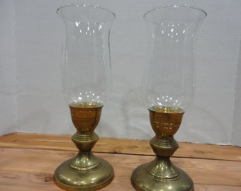 Pair of Brass Hurricane Candle Holders