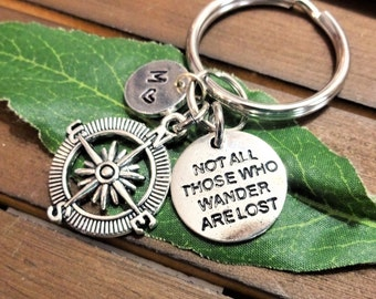 "COMPASS and ""not all those who WANDER are lost"" KEYCHAIN with initial charm (fits 1-2 characters) Read item details below and see all photos"