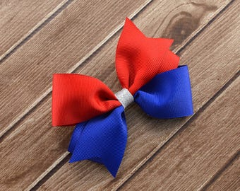 Fourth of July Bow, Fourth of July Hair Bow, Fourth of July Headband, Patriotic Bow, Patriotic Headband, Red White and Blue Bow, Red Bow