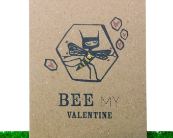 valentine card, handfinished card, bee, bee card, greeting card, recycled card, eco greeting card, bee illustration, bee print, eco card