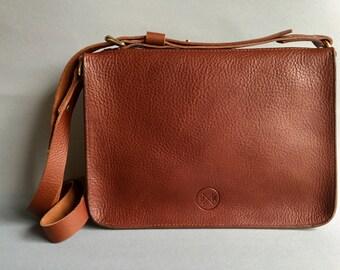 Brown leather bag, zip top satchel, brown leather bag, tan shoulder bag, tan cross body bag, brown purse, tan satchel, brown satchel,