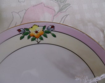 Meito China Set of Two Bread/Dessert Plates Hand Painted Japan White Centers Yellow Band Pink Band Deep Yellow Star Flower Red Buds Leaves